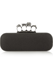 Knuckle studded leather box clutch