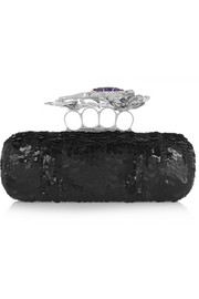 Salamander Knuckle sequined box clutch