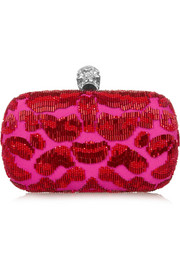 Alexander McQueen Classic Skull embellished satin box clutch