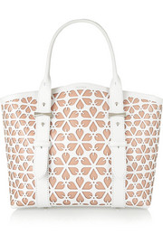 Legend small laser-cut leather tote