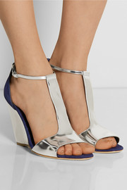 Rupert Sanderson June mirrored-leather and suede wedge sandals
