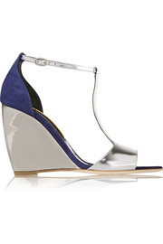 June mirrored-leather and suede wedge sandals