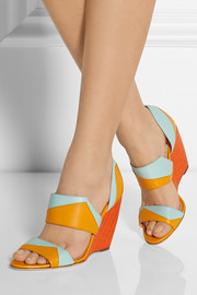 Rupert Sanderson Color-block leather wedge sandals