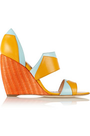 Color-block leather wedge sandals