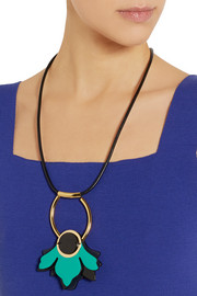Marni Gold-plated, leather and horn necklace