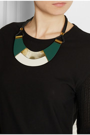 Marni Leather and horn necklace