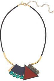 Gold-plated, pyrite and resin necklace