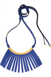 Marni Fringed leather and gold-plated necklace