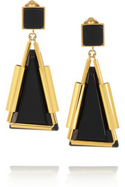 Marni Gold-plated, horn and resin clip earrings