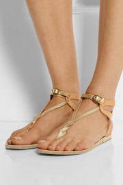 Ancient Greek Sandals Ismene metallic leather sandals