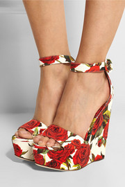 Floral-brocade wedge sandals