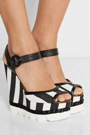 Striped leather and brocade wedge sandals