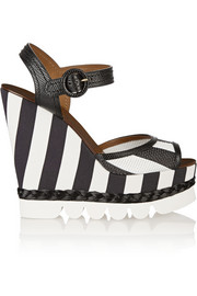 Dolce & Gabbana Striped leather and brocade wedge sandals
