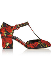 Floral-brocade T-bar pumps