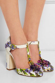 Embellished floral-print brocade T-bar pumps