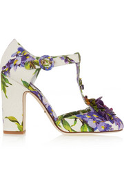 Dolce & Gabbana Embellished floral-print brocade T-bar pumps