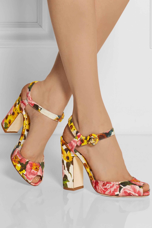Dolce & Gabbana Sandales à talons en brocart fleuri