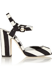 Striped brocade sandals