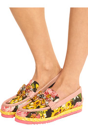 Embellished floral-print brocade loafers