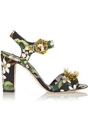 Embellished brocade sandals