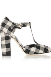 Gingham brocade T-bar pumps