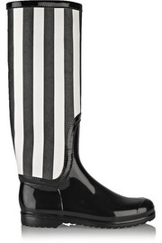 Striped faux patent-leather rain boots