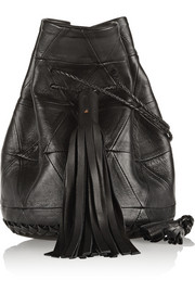 Bullet patchwork leather bucket bag