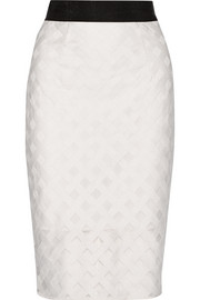 Embroidered mesh pencil skirt