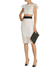 Milly Embroidered mesh pencil skirt