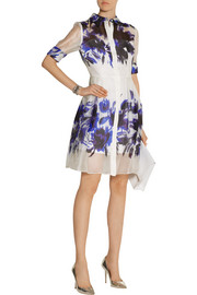 Milly Printed silk-organza shirt dress