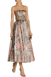 Notte by Marchesa Embellished metallic brocade gown