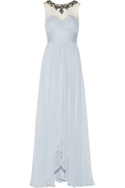 Embellished tulle-paneled silk-chiffon gown
