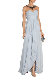 Notte by Marchesa Embellished tulle-paneled silk-chiffon gown