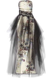 Floral-print tulle and faille gown