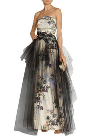 Notte by Marchesa Floral-print tulle and faille gown