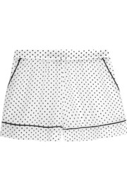 Polka-dot silk crepe de chine pajama shorts