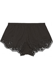 Lace-trimmed stretch-silk crepe de chine shorts