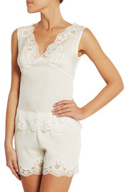 Lace-trimmed stretch-silk crepe de chine pajama top