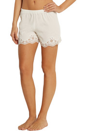 Lace-trimmed stretch-silk crepe de chine pajama shorts