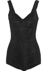 Lace-paneled stretch-faille bodysuit