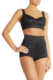 Lace-paneled stretch-faille briefs