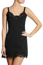 Lace-trimmed stretch-silk georgette chemise