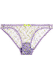Nancee neon-embroidered tulle briefs