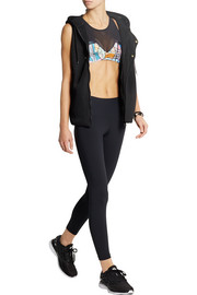 Rio printed stretch and mesh sports bra