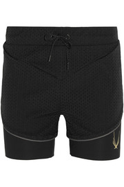 Lucas Hugh Glazier perforated shell and stretch shorts