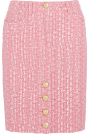 Raffia and bouclé-tweed pencil skirt