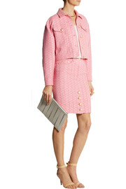 Moschino Raffia and bouclé-tweed pencil skirt