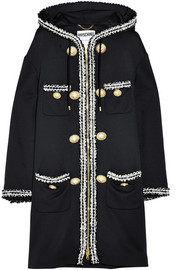 Hooded bouclé-embroidered jersey coat
