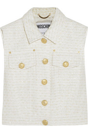 Moschino Cropped bouclé-tweed vest