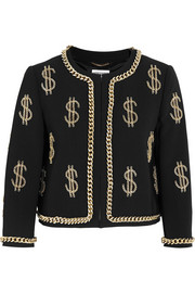 Dollar Sign chain-embellished crepe jacket